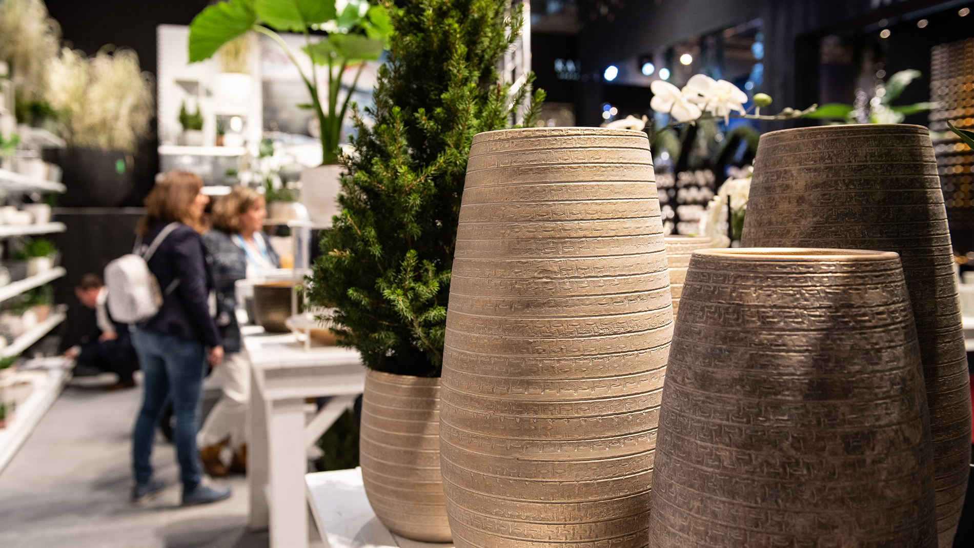 florists' requisites: vases with artificial flowers at the Christmasworld